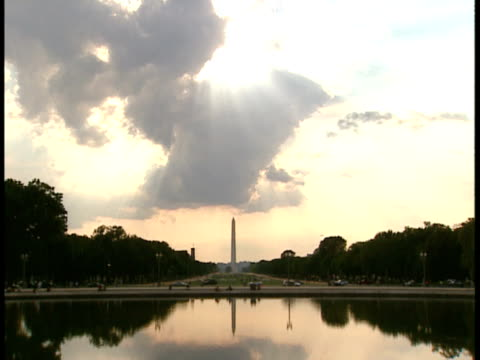 ws, usa, washington, d.c., washington monument - placca di montaggio fissa video stock e b–roll