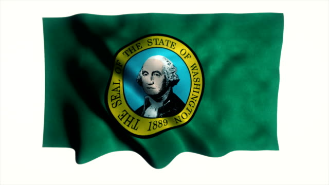 washington flag waving animation - country geographic area stock videos & royalty-free footage