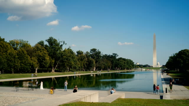 washington monument and lincoln memorial reflecting pool, washington d.c, usa - washington monument stock videos & royalty-free footage
