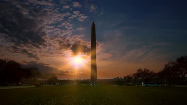washington monument and national mall at sunset in washington, dc - washington monument washington dc stock videos & royalty-free footage