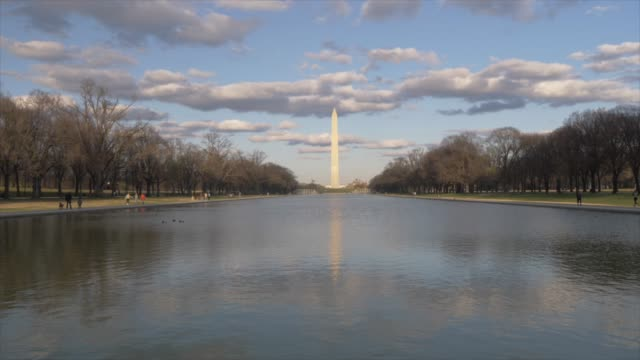 washington monument and reflecting pool at sunset from lincoln memorial, washington dc, united states of america, north america - reflecting pool washington dc stock videos & royalty-free footage