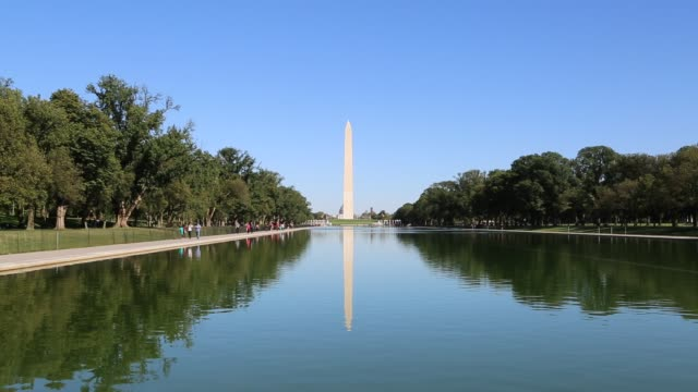 washington monument and reflecting pool - washington monument washington dc stock videos & royalty-free footage