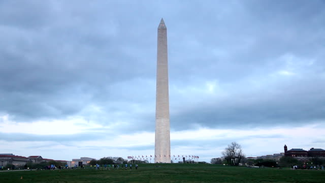 washington monument at dusk - washington monument stock videos and b-roll footage
