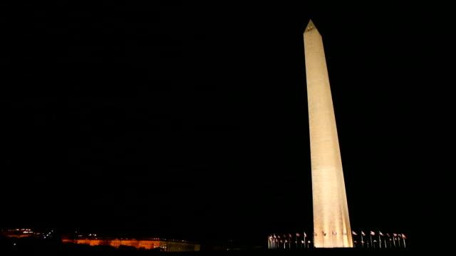 washington monument at night - washington monument stock videos and b-roll footage