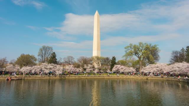 ワシントンモニュメントに、桜の花のフェスティバル - スペースシャトル点の映像素材/bロール