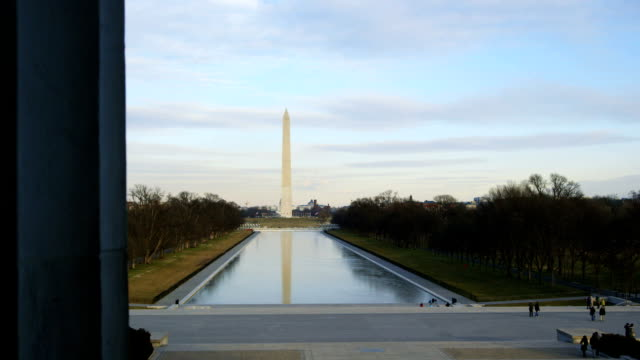 washington monument in winter as seen from lincoln memorial - washington monument washington dc stock videos & royalty-free footage