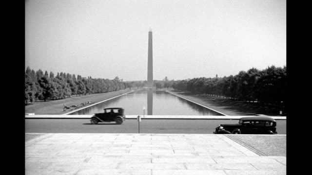 washington monument viewed from lincoln memorial. washington monument viewed from lincoln memorial on january 01, 1939 in washington, dc - reflecting pool washington dc stock videos & royalty-free footage