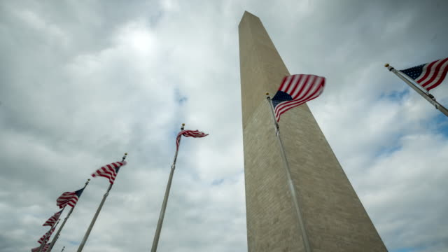 Washington Monument with American Flags and Clouds Time Lapse in Washington, DC