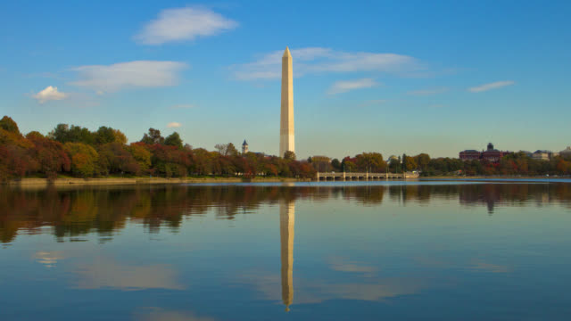 TIME LAPSE LONG SHOT Washington Monument with reflection in Tidal Basin in foreground in autumn, Washington DC