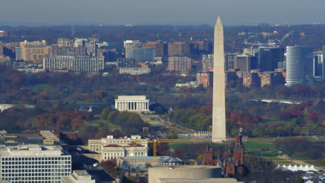 washington monument with smithsonian castle in front at base and lincoln memorial in rear. shot in 2011. - smithsonian institution stock videos & royalty-free footage