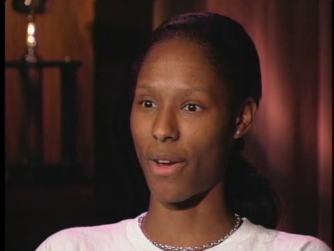 washington mystics basketball player chamique holdsclaw says she was so excited to get a college scholarship - sport stock-videos und b-roll-filmmaterial