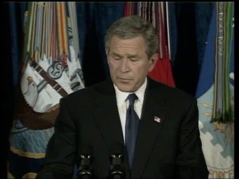 washington: pentagon: int george w bush along to press conference podium george w bush press conference sot - there will be a full accounting for... - dick cheney stock videos & royalty-free footage