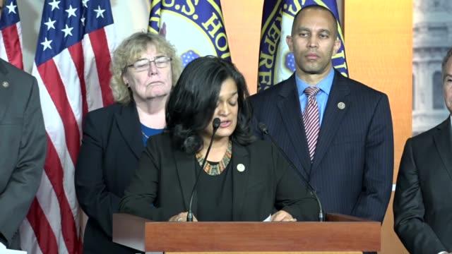 Washington Representative Pramila Jayapal says at a news conference with House Judiciary Committee Democrats that the Trump administration had failed...