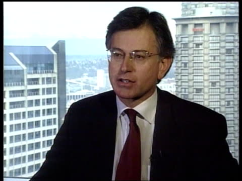 Washington Seattle INT Stephen Byers MP interview SOT Talks of importance of trade to the world / Should be a tariff free regime for products from...