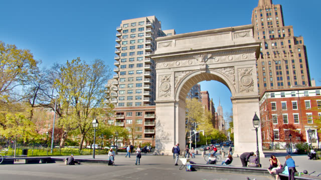 washington square arch. empire state building - triumphal arch stock videos & royalty-free footage