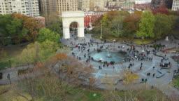 Washington square park New york city aerial view