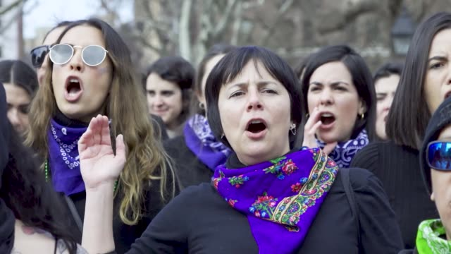 washington square park new york city international women's day international women's day is celebrated on the 8th of march every year around the... - 国際女性デー点の映像素材/bロール