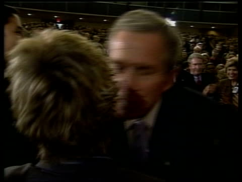 washington state department int president george w bush and secretary of state colin powell shaking hands with people as they applaud lms bush at... - king royal person stock videos and b-roll footage