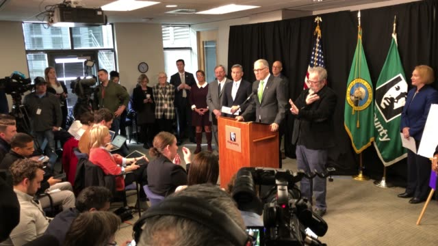 washington state governor jay inslee announces measures to help contain the spread of coronavirus at a press conference on march 11, 2020 in seattle,... - press conference video stock e b–roll