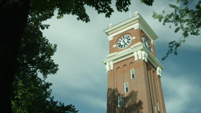 washington state university bryan hall - clock tower stock videos & royalty-free footage