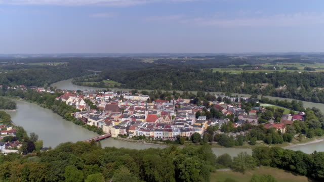 wasserburg am inn in upper bavaria - river bend land feature stock videos & royalty-free footage
