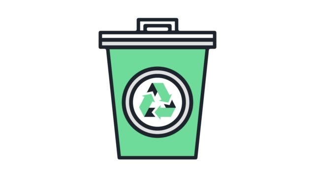 Waste Management & Collection Flat Line Icon Animation with Alpha