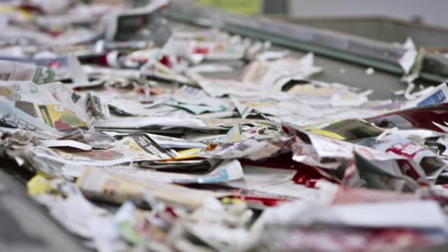 ld waste paper on the conveyor belt - recycling stock videos and b-roll footage