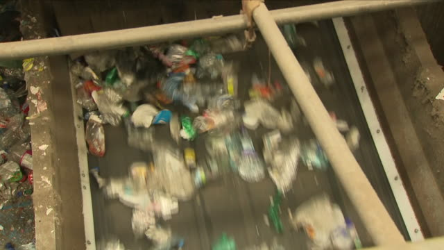 waste plastic at a recycling plant - landfill stock videos & royalty-free footage