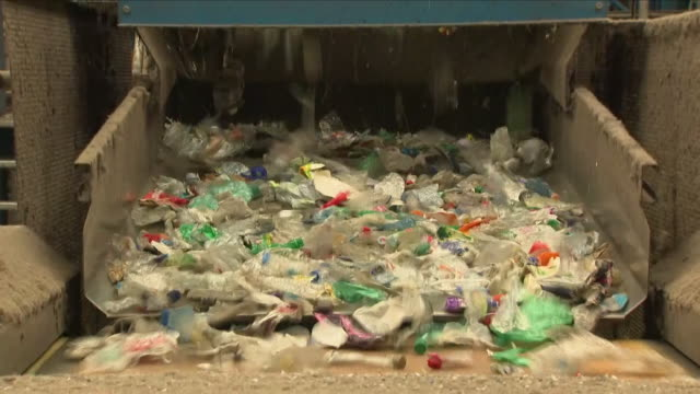 waste plastic at a recycling plant - plastic stock videos & royalty-free footage