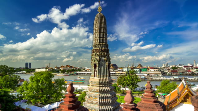 Wat Arun temple and Chao Phraya River,High angle view