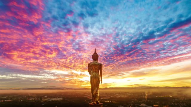 wat khao noi at sunrise, nan thailand - awe stock videos & royalty-free footage