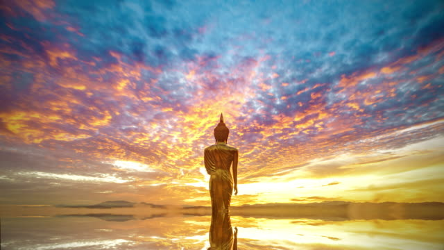 wat khao noi at sunrise, nan thailand - statuetta video stock e b–roll
