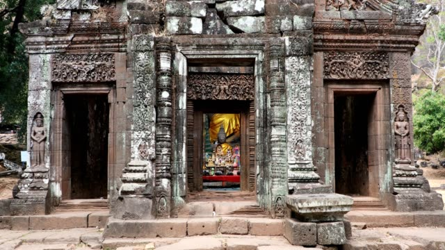 wat phou hindu temple in champasak, southern laos - empire stock videos & royalty-free footage
