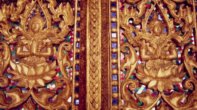 wat phra kaeo decoration, vientiane, laos - lotus position stock videos & royalty-free footage