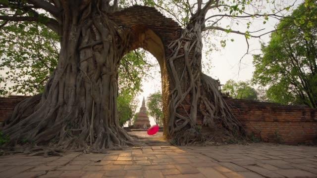 vídeos de stock, filmes e b-roll de wat phra ngarm the door of time  phra nakhon si ayutthaya in thailand - templo