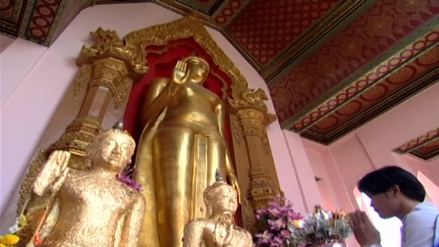 wat phra pathom chedi lowangle of a golden phra ruang buddha statue in the abhaya mudra pose believers make offerings seeking security and reassurance - aquatic plant stock videos & royalty-free footage