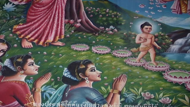 wat suan dok temple cu of a painting depicting the baby buddha creating lotus flowers with his first steps with handmaidens in prayer below - aquatic plant stock videos & royalty-free footage