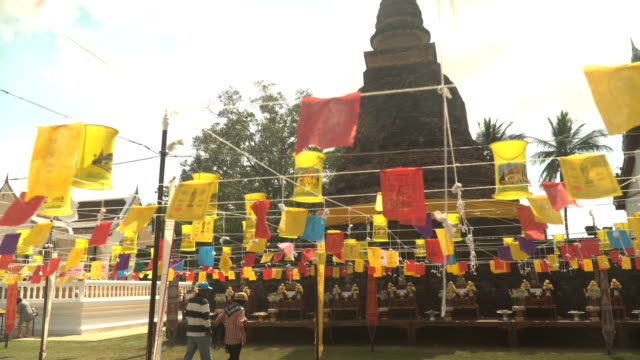 wat traphang thong is decorated for praying on new year day - old ruin stock videos & royalty-free footage