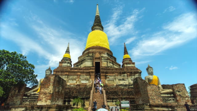 wat yai chai mongkhon temple, ayutthaya, thailand - 4k time lapse - pagoda stock videos and b-roll footage
