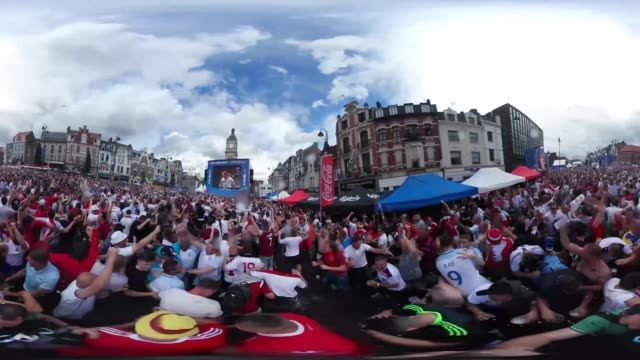 Watch England fans celebrate the moment of Jamie Vardy's equaliser against Wales