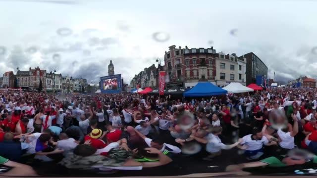 vídeos de stock, filmes e b-roll de watch the moment england fans celebrate daniel sturridge's winning goal against wales - euro 2016