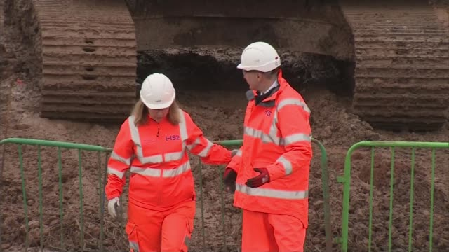 watchdog says that project's risks were underestimated uk birmingham gvs of hs2 construction site niki french interview reporter to camera england... - construction vehicle stock videos & royalty-free footage