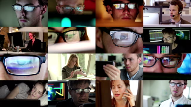 watching screen composite. - eyeglasses stock videos & royalty-free footage
