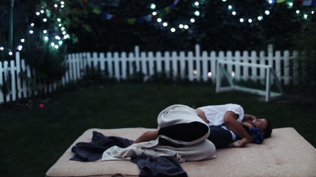 watching the stars from our backyard - reclining stock videos & royalty-free footage