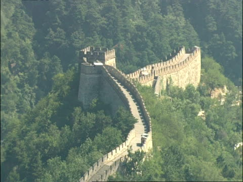watchtower in great wall of china, mutianyu, china - mutianyu stock videos & royalty-free footage