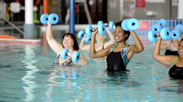 water aerobics - community center stock videos and b-roll footage