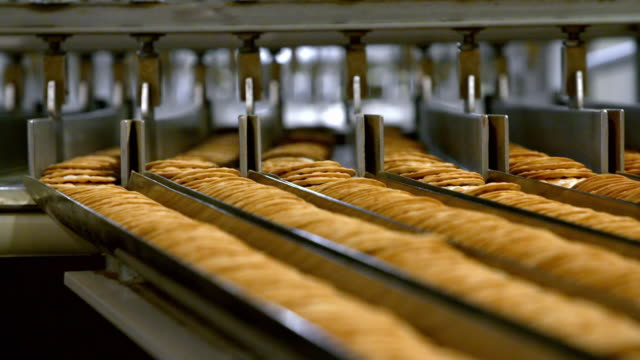 water biscuits on a production line - food stock videos & royalty-free footage