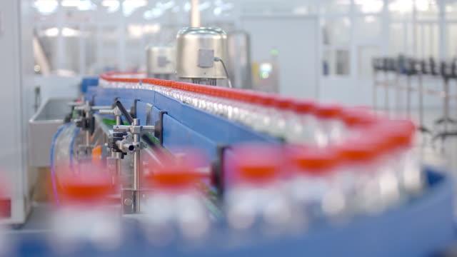 Water bottle conveyor industry. Production of  water.
