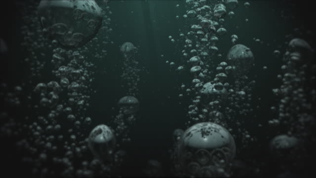 water bubbles 01 dark background looping - ominous stock videos & royalty-free footage