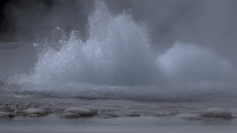 water bubbles and boils as geyser begins to erupt. - geyser stock videos & royalty-free footage